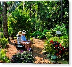 Loving Couple Enjoying Their Prayer Garden Acrylic Print