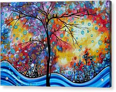 Enormous Whimsical Cityscape Tree Bird Painting Original Landscape Art Worlds Away By Madart Acrylic Print by Megan Duncanson