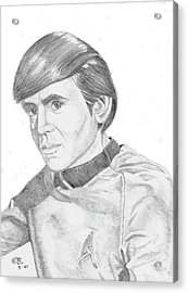 Acrylic Print featuring the drawing Ensign Pavel Chekov by Thomas J Herring