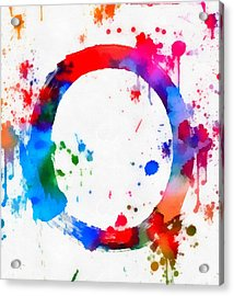 Enso Circle Paint Splatter Acrylic Print