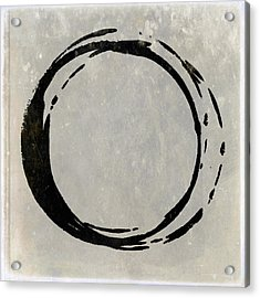 Enso No. 107 Black On Taupe Acrylic Print by Julie Niemela