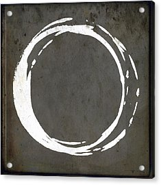 Enso No. 107 Gray Brown Acrylic Print by Julie Niemela