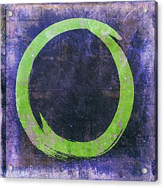 Enso No. 108 Green On Purple Acrylic Print