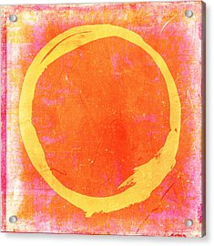 Enso No. 109 Yellow On Pink And Orange Acrylic Print