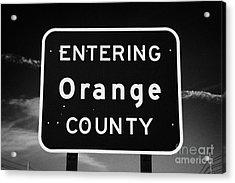 Entering Orange County Near Orlando Florida Usa Acrylic Print by Joe Fox