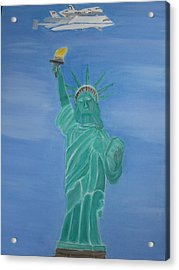 Enterprise On Statue Of Liberty Acrylic Print by Vandna Mehta