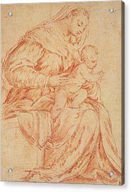 Enthroned Madonna And Child Acrylic Print by Jacopo Bassano