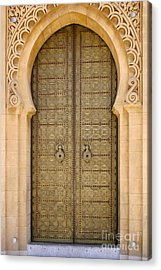 Entrance Door To The Mausoleum Mohammed V Rabat Morocco Acrylic Print by Ralph A  Ledergerber-Photography