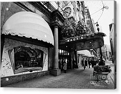 entrance to Macys department store on Broadway and 34th street at Herald square christmas Acrylic Print by Joe Fox