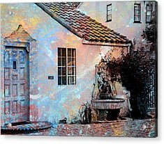 Acrylic Print featuring the photograph Entrance To Stucco Spanish Style House by John Fish