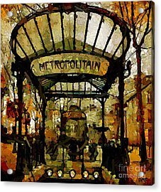 Entrance To The Paris Metro Acrylic Print by Dragica  Micki Fortuna