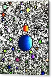 Acrylic Print featuring the drawing Entropy Color Variation 4 by Devin  Cogger