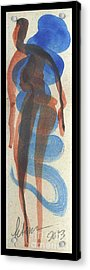 Entwined Figures Series No. 2 Blue Unknown Acrylic Print by Cathy Peterson