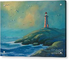 Envisioning Peggys Cove Lighthouse Acrylic Print by John Malone