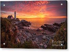 Epic Sunrise At Portland Head Light Acrylic Print by Benjamin Williamson