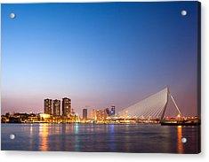 Erasmus Bridge In Rotterdam At Dusk Acrylic Print