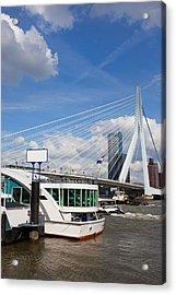 Erasmus Bridge In Rotterdam City Downtown Acrylic Print by Artur Bogacki