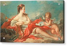 Erato  The Muse Of Love Poetry Acrylic Print by Francois Boucher