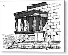 Acrylic Print featuring the drawing Erechtheion Caryatids by Calvin Durham