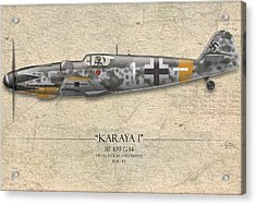 Erich Hartmann Messerschmitt Bf-109 - Map Background Acrylic Print by Craig Tinder