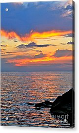 Erie Sunset Acrylic Print by Jay Nodianos
