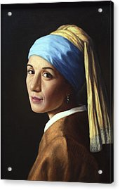 Erika With A Pearl Earring Acrylic Print by James W Johnson