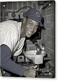 Ernie Banks At Cubs Water Fountain Acrylic Print