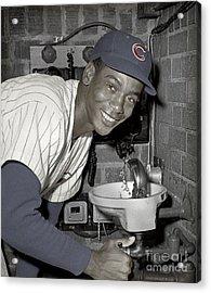 Ernie Banks At Cubs Water Fountain Acrylic Print by Martin Konopacki Restoration