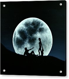 Acrylic Print featuring the painting Eros Under A Full Moon Rising by Ric Nagualero