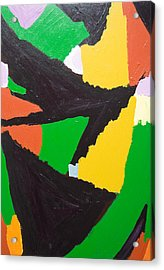 Erosive Black Jigsaw Curves Acrylic Print by Kazuya Akimoto