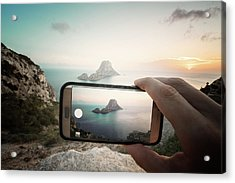 Es Vedra On Mobile Acrylic Print by Andy Brandl