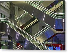 Escalators At Dubai Airport Acrylic Print by Mark Williamson
