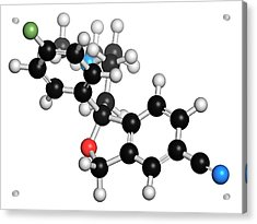 Escitalopram Antidepressant Drug Molecule Acrylic Print by Molekuul
