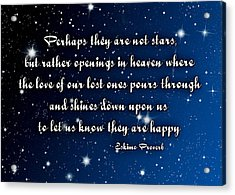 Eskimo Proverb Perhaps They Are Not Stars Acrylic Print