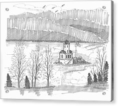 Acrylic Print featuring the drawing Esopus Lighthouse by Richard Wambach