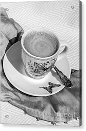 Espresso In Butterfly Cup In Black And White Acrylic Print by Iris Richardson