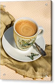 Espresso In Butterfly Cup Acrylic Print by Iris Richardson