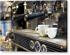 Espresso Machine Pouring Coffee Into Acrylic Print by Kathrin Ziegler