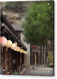 Acrylic Print featuring the painting Estes Park Downtown by Patricia Lintner