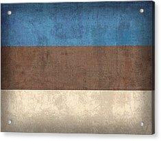 Estonia Flag Vintage Distressed Finish Acrylic Print by Design Turnpike