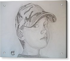 Acrylic Print featuring the drawing Ethan Age 6 by Justin Moore