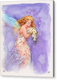 Acrylic Print featuring the painting Ethereal Daisy Flower Fairy by Judith Cheng