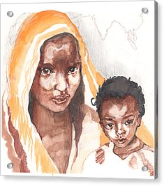 Acrylic Print featuring the painting Ethiopean Mother And Child by Nancy Watson