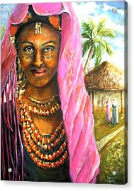 Acrylic Print featuring the painting Ethiopia Bride by Bernadette Krupa