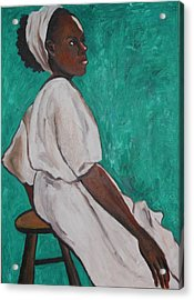 Ethiopian Woman In Green Acrylic Print by Esther Newman-Cohen