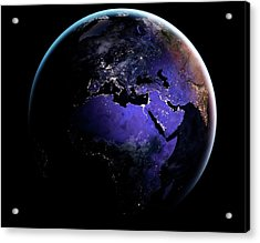 Eurasia And Africa At Night Acrylic Print