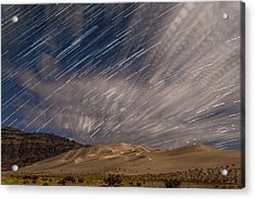 Eureka Dunes Star Trails Acrylic Print by Cat Connor