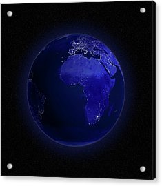 Europe And Africa At Night, Artwork Acrylic Print by Andrzej Wojcicki