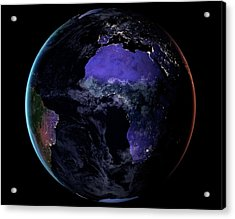 Europe And Africa At Night Acrylic Print