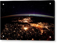 Acrylic Print featuring the photograph Europe At Night, Satellite View by Science Source